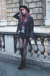 Amy Valentine - H&M Black Fedora, Tk Maxx Quilted Leather Jacket, Missguided Sequin Top, Sheinside Black Skort, Persun Black Leather Clutch - LFW FRIDAY