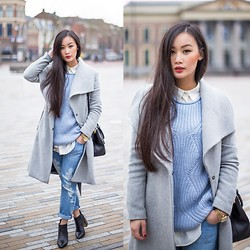 Levi Nguyen - Blue Knit, Grey Coat, Ripped Jeans - BLUES