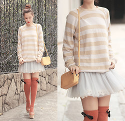 Mayo Wo - Miu Mustard Mini Bag, Chic Wish Crochet Lace Skirt, Awwdore Over Knee Socks With Bows - Prepping