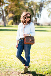 Mallory W - Gap Chambray Shirt, J.Crew Jeans, H&M Suede Booties - Canadian Tuxedo
