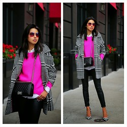 Annabelle Fleur - Trina Turk Coat, Finders Keepers The Label Sweater, Gucci Sunglasses - Plaid & Pink