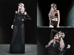 Eugénie Grey - Unif Wiccan Dress, Teale Coco Lunar Bralette, Teale Coco Starlight Bloomers, Chromat Catwoman Mask - She Walks in Darkness