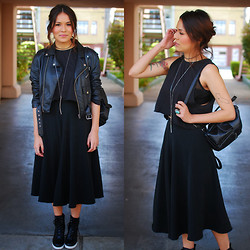 Estefania Pino - Nasty Gal Vegan Leather Jacket, Lulu's Midi Black Skirt, Nasty Gal Basic Crop Top, Solestruck Boots - Black Out Days