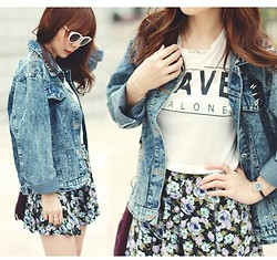 Prisca E. - Oversize Denim Jacket With Spikes, Forever 21 Floral Skirt, Zara Sunglasses - Love, Spikes & Others