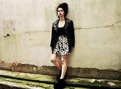 Görkem Erarslan - Thrift Store Spiked Leather Jacket, Thrift Store Mickey Skater Skirt, Asos Vita Flatform Ankle Boots - 05.03.14
