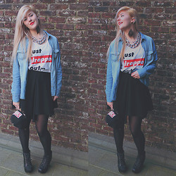 Tiphany Ruggeri - Romwe High Skirt, New Yorker T Shirt, Romwe Earing Spokes, Jeffrey Campbell - Just Dropped Out..