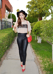 Fernanda Lily Amaya - Nasty Gal Black Hat, Express Leather Leggins, Guess? Red Heels, Nasty Gal Crop Blouse - When in doubt, wear red.