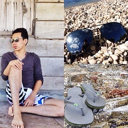 Earth Sagun - Sm Dept Store Shirt, Ray Ban Sunnies, Havaianas Sleepers, Coco Cabana Board Shorts - Summer Paradise
