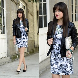 "Gaby Gómez MODA CAPITAL - Choies Dress, Vateno Jacket, Rebecca Minkoff Bag, Swarovski Bracelet - ""Leather jacket  & floral dress"""
