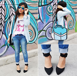 Shayne B - Stradivarius Denim Polo, Forever 21 Denim Pants - Graffiti