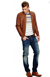 Eric M - Calvin Klein Brown Leather Jacket, Ralph Lauren Blue/Brown Print Long Tee - Brown Haze