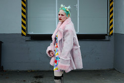 †Norelle Rheingold† - Second Hand Faux Fur Coat (Pink), Lazy Oaf Ng X Sticker Dress - Too lazy to live and too lazy to kill myself