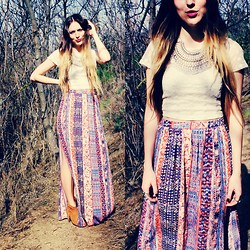 Ashley Prybycien - Shantique Designs Zahara Necklace, Forever 21 Vibrant Slit Maxi Skirt, Urban Outfitters Lace Crop Top, Pacsun Qupid Bootie - Wild At Heart