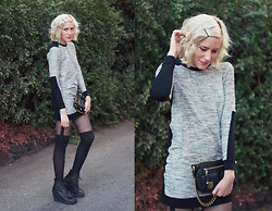 Dani Roxanne - Zara Long Sleeve Panel Dress, Urban Outfitters Tight High Tights, Jeffrey Campbell Lace Up Boots, Marc By Jacobs Quilted Clutch - Winter Dress