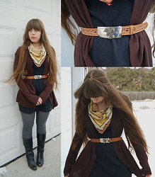 Amethyst . - Thrifted Caribbean Map Scarf, Thrifted Western Kid's Belt, Gifted Elven Headdress, Walmart Tights, Thrifted Everything Else - She said I've lived my life like a diamond