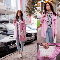 Viktoriya Sener - Wholesale7 Coat, Tb Dress Blouse, M2f Jeans, Braska Brogues, Zara Clutch - COTTON CANDY