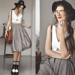 Elle-May Leckenby - Herringbone Skirt, Frontrowshop White Crop, Guru Smokey Quartz Ring, Frontrowshop Trilby Hat, Large Round Clear Glasses, Frontrowshop Black With White Stripe Socks, Colour Block Lace Up Wedges - In a past life