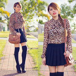 Debbie K - Honey Peaches Black Skort, Leopard Print Blouse, Charlotte Ruse Black Heels - The Purrfect Escape