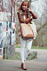 SecretFashion Love - Zara Leather Jacket, Choies Vest, Forever 21 Bag, Zara White Jeans - Leatherlicous