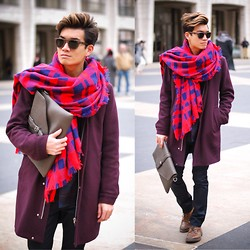 Alexander Liang - Custom Projects Sunglasses, Zara Scarf, Opening Ceremony Coat, Aldo Boots - NYFW: Winter Warm