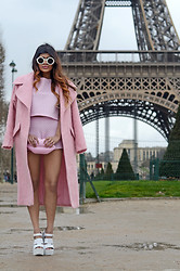 Kavita D - Asos Long Pink Mohair Coat, Missguided Two Piece Pink Shorts And Crop Top, Lulu Guinness Pink Lips Clutch, River Island White Cleated Sole Heels, Wildfox Couture White Bel Air Sunglasses - Paris Fashion Week : The Eiffel Tower