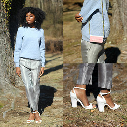 Jennifer W - H&M Sweater, H&M Shiny Trousers, Zara Shoes, Anyshapes Custom Made Phone Case - Shiny Pastels