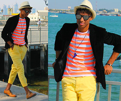 "Liliano Ventos - Dior Homme Fedora Hat, Ray Ban Shades, Zara Summer Blazer, Alexander Mcqueen Tank T Shirt, Splash Slim Belt, Jeremy Scott Yellow Chino Pants, Topman Asos Brogues Shoes - ""Im what happened in #DOHA"""
