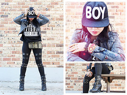 Angela Bethea - Boy London, Forever 21 Studded Jacket, Romwe Rich Fashion Advisory, Romwe Studded Leggings, Moxie Mk Watch, Frontrowshop Motorcycle Boots - LOOK 54: BAD GAL / BOY LOOK