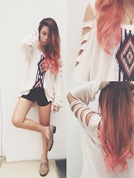 Alyssa Baña - Forever 21 Oversized Cutout Sweater, Zara Highwaisted Shorts, Primadonna Studded Slip Ons - Sensitive kid