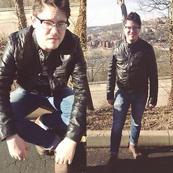 Matthew R - Marc Anthony Black Faux Leather Jacket, &Denim Skinny Low Cut Jeans, Steve Madden Brown Combat Boots, Vintage Genesis, Oscar Editor Frame - The Overlook