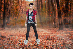 Alexandru - Jeremy Scott Shoes, H&M Skinny Pants, Fe[Male] Shirt, Checkered Shirt, Timex Watch - Fly Forest, Fly !