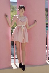 Zoë Harvey - 8000 Nerves Pink Dress, Stylists Own Cat Ears, Bc Footwear Black Shoes - Le Chat Rose