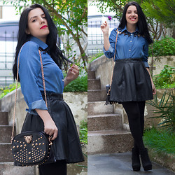 Emel Acar - Sheinside Denim Shirt, Sheinside Skirt, Banggood Bag - Denim Shirt