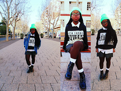 SOL B. - Aliexpress Neon Beanie, Romwe Denim Jacket, Aliexpress Rich Fashion Sweatshirt, Vintage White Shirt, Vintage Skater Skirt, Vintage White Socks, Banggood Boots, Firmoo Glasses - EXPLICIT CONTENT
