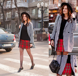 Viktoriya Sener - Sheinside Coat, Stradivarius Jumper, Asos Skirt, Braska Brogues, Zara Hat, Hotic Bag - HOUNDSTOOTH+TARTAN