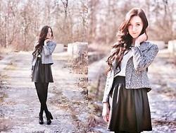 Monika Paciorek - H&M Silver Jacket, Vintage Shirt, Zara Neackle, Vintage Skirt, Buffalo Heels - Spring is comming