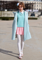Sofia R - Tara Jarmon Baby Blue Coat, New Look Blue Sweater, Zara Pastel Pink Skirt - Pastel Princess