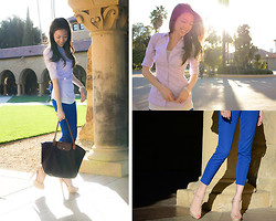 Beautybystarlet - Elliott Pant Babaton, Longchamp Tote, Steve Madden High Heels, H&M Stretch Shirt - Spring Collegiate Collection
