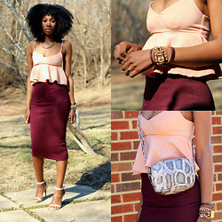 Jennifer W - H&M Peplum Top, H&M Midi Skirt, Winky Design Layered Watch, H&M Snake Print Bag - Pastel Peplum