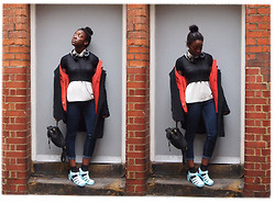 Olutosin K - Topshop Crop Top, Charity Shop Orange Corduroy Jacket, Mango Textured Oversized Coat, Next Cream Vest, Primark Blue Jeans, Juju Baby Blue Jellies - Orange jelly