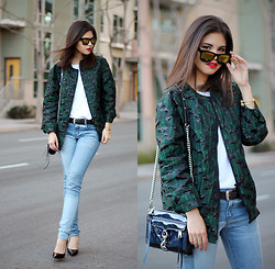 Adriana Gastélum - Choies Mirror Sunnies, Topshop Bomber Jacket, Rebecca Minkoff Mini Mac, Sheinside Patched Jeans, Coach Pumps - Before it's too late
