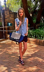 Nikki S - Céline Bag, Birkenstock Sandals - Denim Vest and Birkenstocks