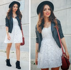 Daniela Ramirez - Abercrombie White Lace Dress, Adriano Goldschmied Leather Jacket, Guess? Boots - Leather and lace