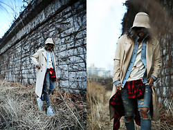 INWON LEE - Byther Floppy Hat, Byther Denim Jacket, Saint Laurent Paris Destroyed Jeans, Off White Tartan Shirt, Byther Rain Coat, Nike Air Yeezy Ii - Another Ordinary Day