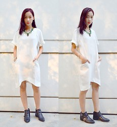 Faith Png - Oasap Rhinestone Necklace, Oasap White Dress, Zara Leather Boots - Blanche