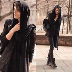 Georg Mallner - Widow Scarf, Weekday Long Sleeves, Widow Rayon Twill Vest, H&M Backpack, Hugo Boss Pants - March 10, 2014