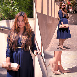Faith Rodriguez - Marks & Spencer Empire Cut Dress, Marks & Spencer Nude Clutch, Marks & Spencer Nude Court Shoes - Versatility In Style (Baby Mama Lookbook)