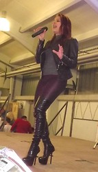 Tanya Wall - Spike Leather Jacket, Vintage 1980 Shiny Lurex T Shirt, Punkio Purple Leggings, Privileged ( J.C. Dossier ) Thigh High Boots - New look for my song show live recital.