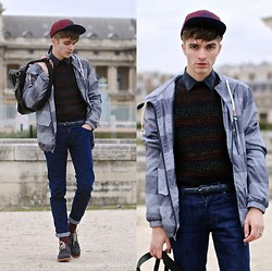 "Matthias C. - Topman Ombre Sweater, 7 For All Mankind Jeans, Burton Menswear Socks, Jack &Jones Cap, Givenchy Messenger Bag, Jack & Jones Windbreaker, Red Sole Shoes - ""Erebos"""