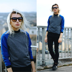 Milex X - Vateno Sporty Top, Giant Vintage Sunglasses, Zara Black Pants - I'm stressin' over nothing